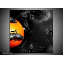 Wandklok op Canvas Gezicht | Kleur: Oranje, Zwart, Wit | F000883C