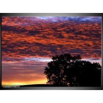 Foto canvas schilderij Bewolkt | Rood, Blauw, Zwart