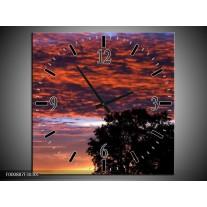 Wandklok op Canvas Bewolkt | Kleur: Rood, Blauw, Zwart | F000887C