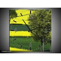 Wandklok op Canvas Boom | Kleur: Groen, Geel, Wit | F000889C