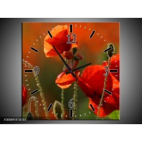 Wandklok op Canvas Klaproos   Kleur: Rood, Groen   F000893C