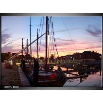 Foto canvas schilderij Boot | Paars, Wit, Blauw