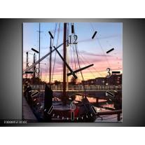 Wandklok op Canvas Boot | Kleur: Paars, Wit, Blauw | F000895C