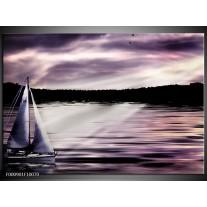 Foto canvas schilderij Boot | Paars, Zwart, Wit