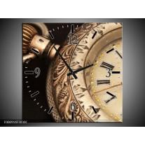 Wandklok op Canvas Klok   Kleur: Goud, Zwart, Bruin   F000914C