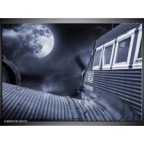 Foto canvas schilderij Maan | Grijs, Wit, Zwart