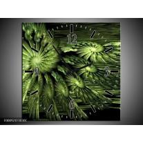 Wandklok op Canvas Abstract | Kleur: Groen, Zwart | F000921C