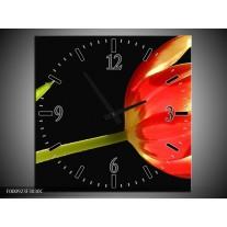 Wandklok op Canvas Bloem | Kleur: Rood, Groen, Zwart | F000923C