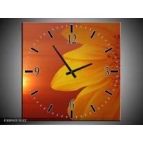 Wandklok op Canvas Bloem | Kleur: Geel, Oranje | F000943C