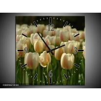 Wandklok op Canvas Tulp | Kleur: Geel, Wit, Groen | F000946C