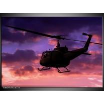 Foto canvas schilderij Helikopter | Paars, Zwart