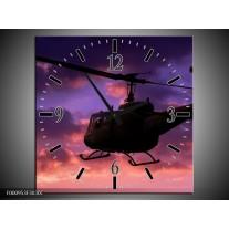 Wandklok op Canvas Helikopter | Kleur: Paars, Zwart | F000953C