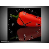 Wandklok op Canvas Paprika   Kleur: Rood, Zwart, Groen   F000968C