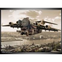 Foto canvas schilderij Vliegtuig | Wit, Grijs