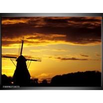 Foto canvas schilderij Molen | Geel, Zwart, Bruin