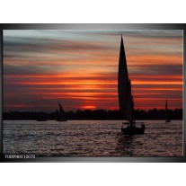 Foto canvas schilderij Boot | Zwart, Rood, Grijs