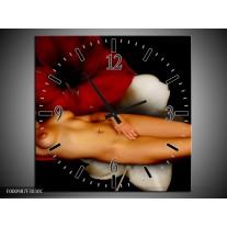 Wandklok op Canvas Vrouw | Kleur: Rood, Wit, Zwart | F000987C