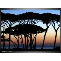 Foto canvas schilderij Bomen   Zwart, Blauw