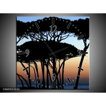 Wandklok op Canvas Bomen   Kleur: Zwart, Blauw   F000992C