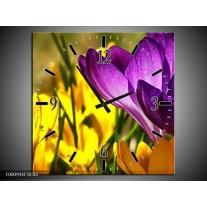 Wandklok op Canvas Krokus | Kleur: Geel, Paars, Groen | F000994C