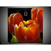 Wandklok op Canvas Tulpen | Kleur: Rood, Geel, Oranje | F001009C