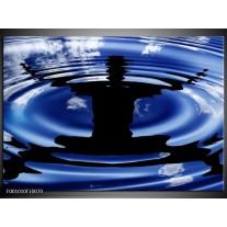 Foto canvas schilderij Yoga | Blauw, Zwart, Wit