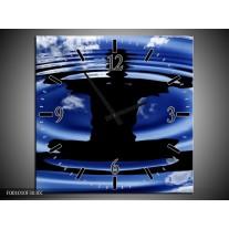 Wandklok op Canvas Yoga | Kleur: Blauw, Zwart, Wit | F001010C