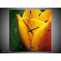 Wandklok op Canvas Tulp | Kleur: Geel, Groen, Oranje | F001019C