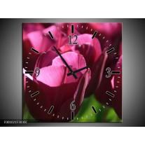 Wandklok op Canvas Tulp | Kleur: Paars, Groen, Wit | F001021C