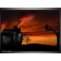 Foto canvas schilderij Landschap | Rood, Zwart, Oranje