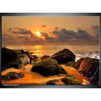Foto canvas schilderij Zonsondergang | Geel, Grijs