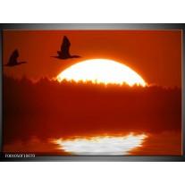 Foto canvas schilderij Zonsondergang | Zwart, Rood, Wit