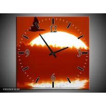 Wandklok op Canvas Zonsondergang | Kleur: Zwart, Rood, Wit | F001050C