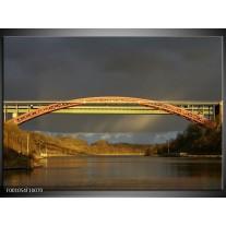 Foto canvas schilderij Brug | Grijs, Geel, Bruin