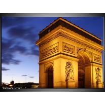 Foto canvas schilderij Parijs | Geel, Blauw, Goud