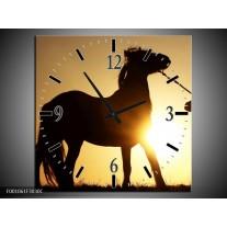 Wandklok op Canvas Paard | Kleur: Zwart, Geel | F001061C