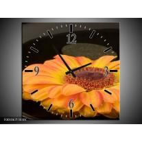 Wandklok op Canvas Bloem   Kleur: Zwart, Oranje, Geel   F001067C