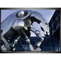 Foto canvas schilderij Robot | Grijs, Wit