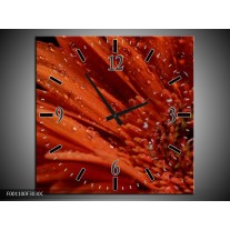 Wandklok op Canvas Bloem | Kleur: Rood, Zwart | F001100C