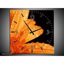 Wandklok op Canvas Bloem | Kleur: Zwart, Oranje | F001105C