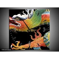 Wandklok op Canvas Draak | Kleur: Zwart, Oranje, Groen | F001107C