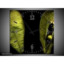 Wandklok op Canvas Blad | Kleur: Groen, Zwart | F001109C