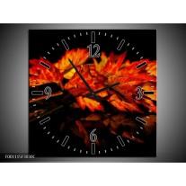 Wandklok op Canvas Herfstblad | Kleur: Rood, Zwart, Oranje | F001115C