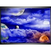 Foto canvas schilderij Planeet | Blauw, Wit