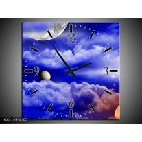 Wandklok op Canvas Planeet | Kleur: Blauw, Wit | F001119C