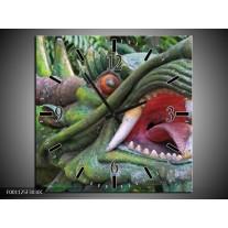 Wandklok op Canvas Draak | Kleur: Groen, Rood, Wit | F001125C
