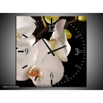Wandklok op Canvas Orchidee | Kleur: Wit, Zwart | F001127C