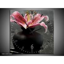 Wandklok op Canvas Bloem | Kleur: Zwart, Rood, Grijs | F001128C