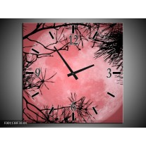 Wandklok op Canvas Maan   Kleur: Zwart, Paars, Rood   F001138C