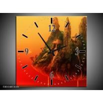 Wandklok op Canvas Abstract | Kleur: Rood, Groen | F001148C